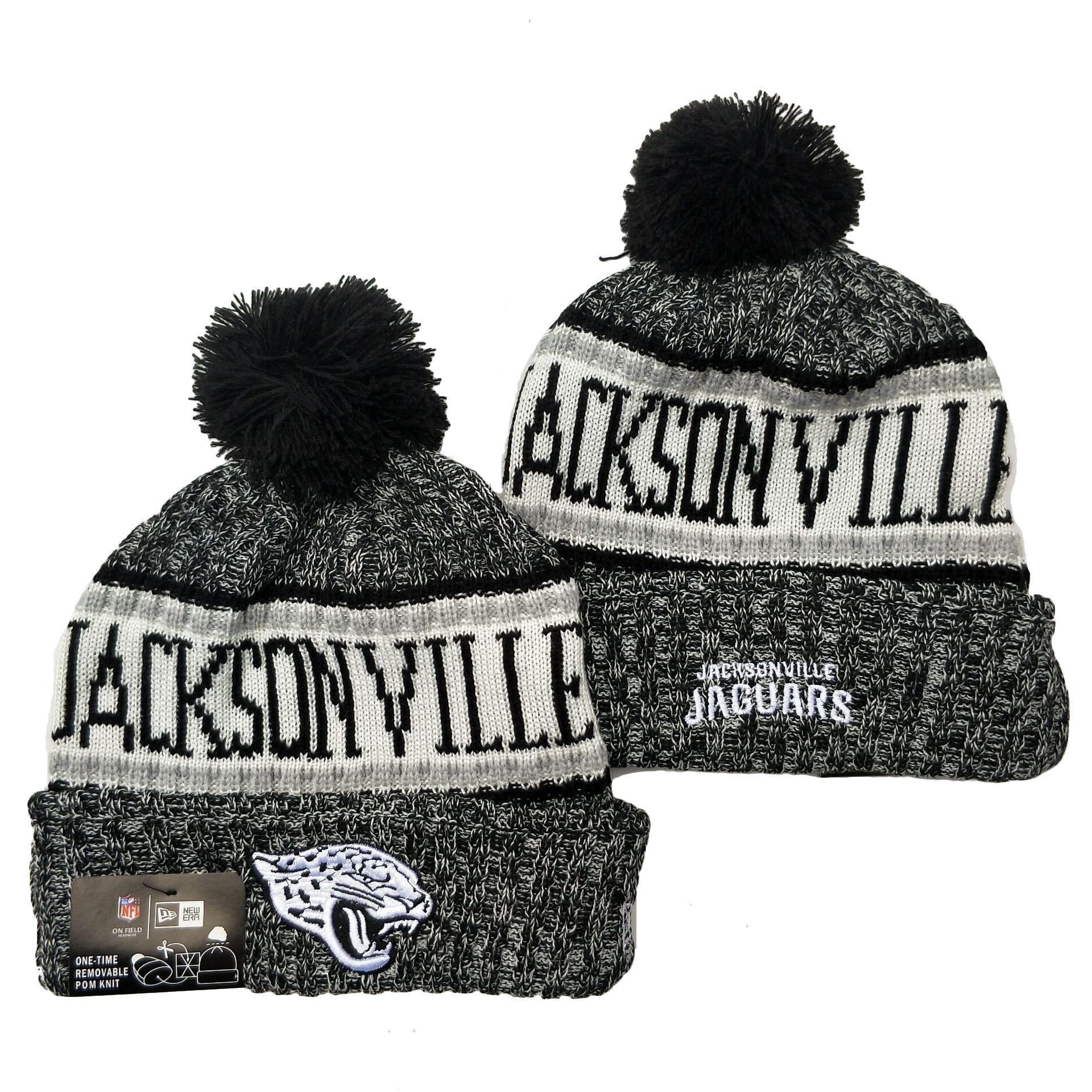 Jaguars Team Logo Gray Pom Cuffed Knit Hat YD