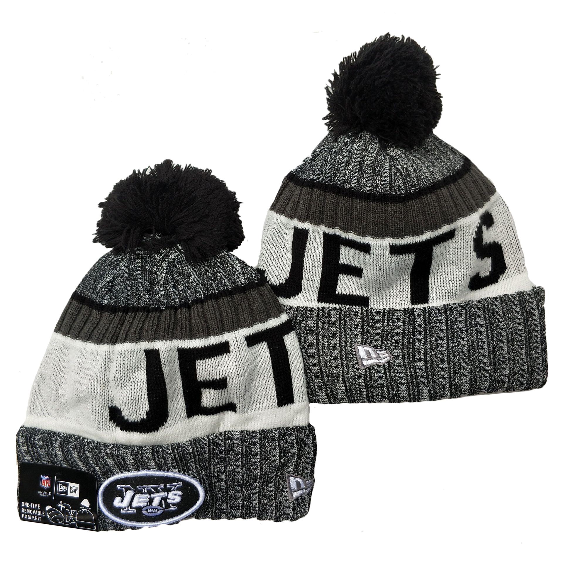 Jets Team Logo Gray Black White Pom Cuffed Knit Hat YD