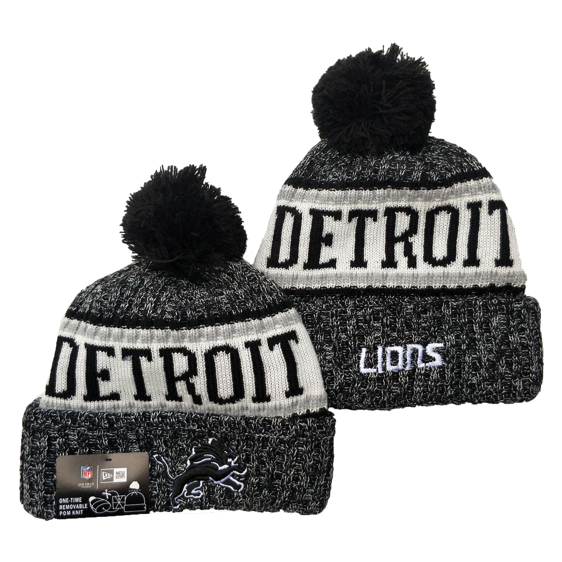 Lions Team Logo Gray Black Pom Cuffed Knit Hat YD