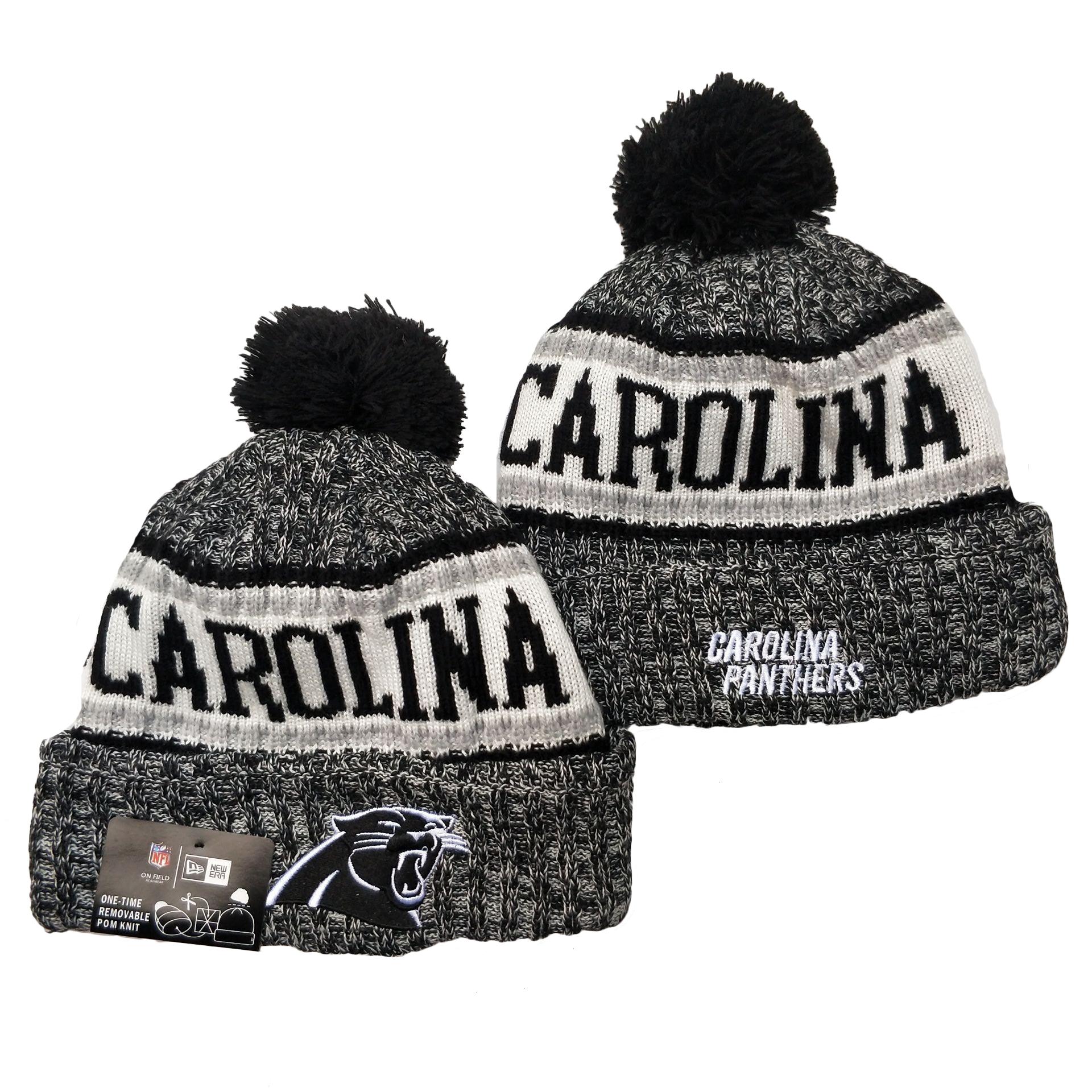 Panthers Team Logo Gray Pom Cuffed Knit Hat YD