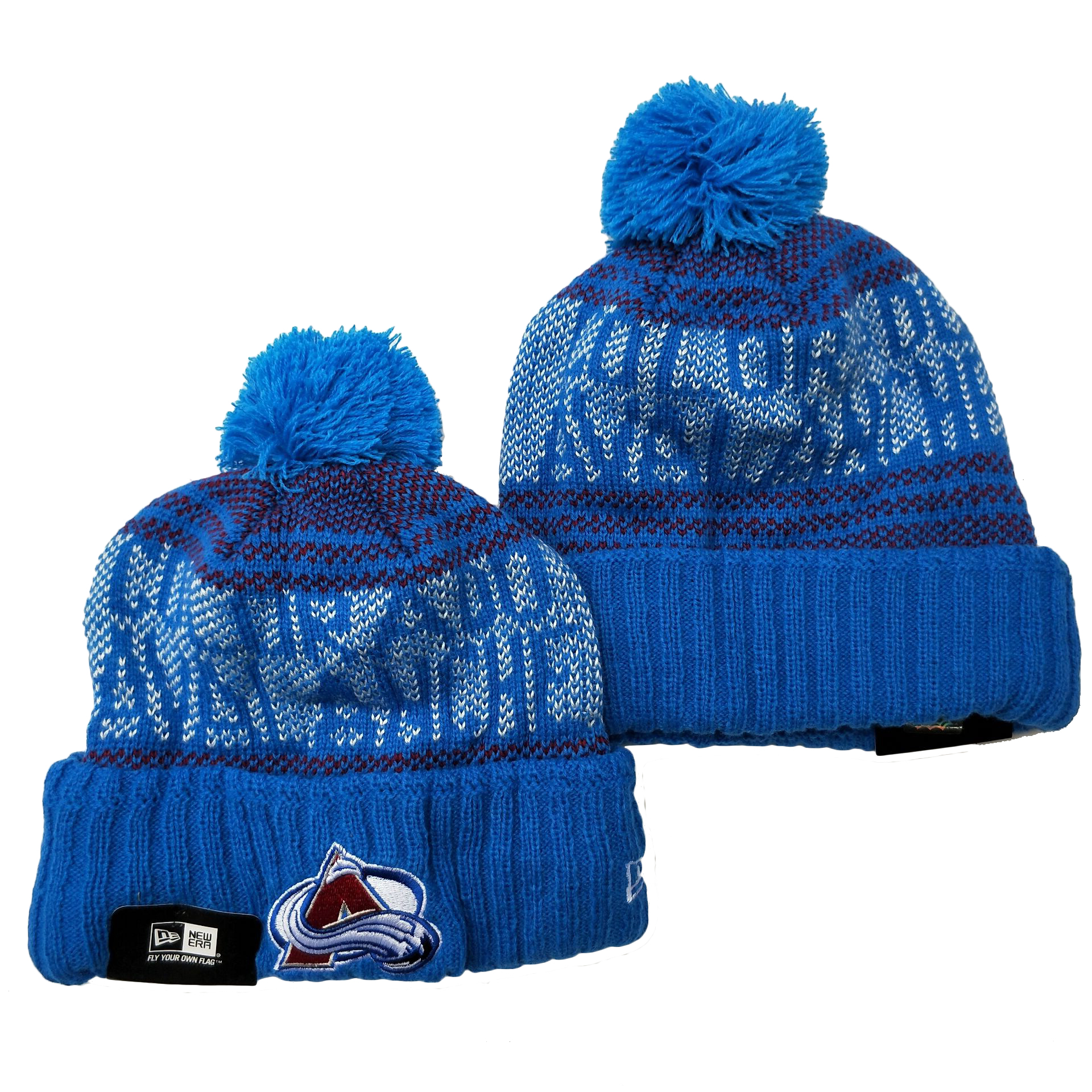 Avalanche Team Logo Blue Pom Cuffed Knit Hat YD