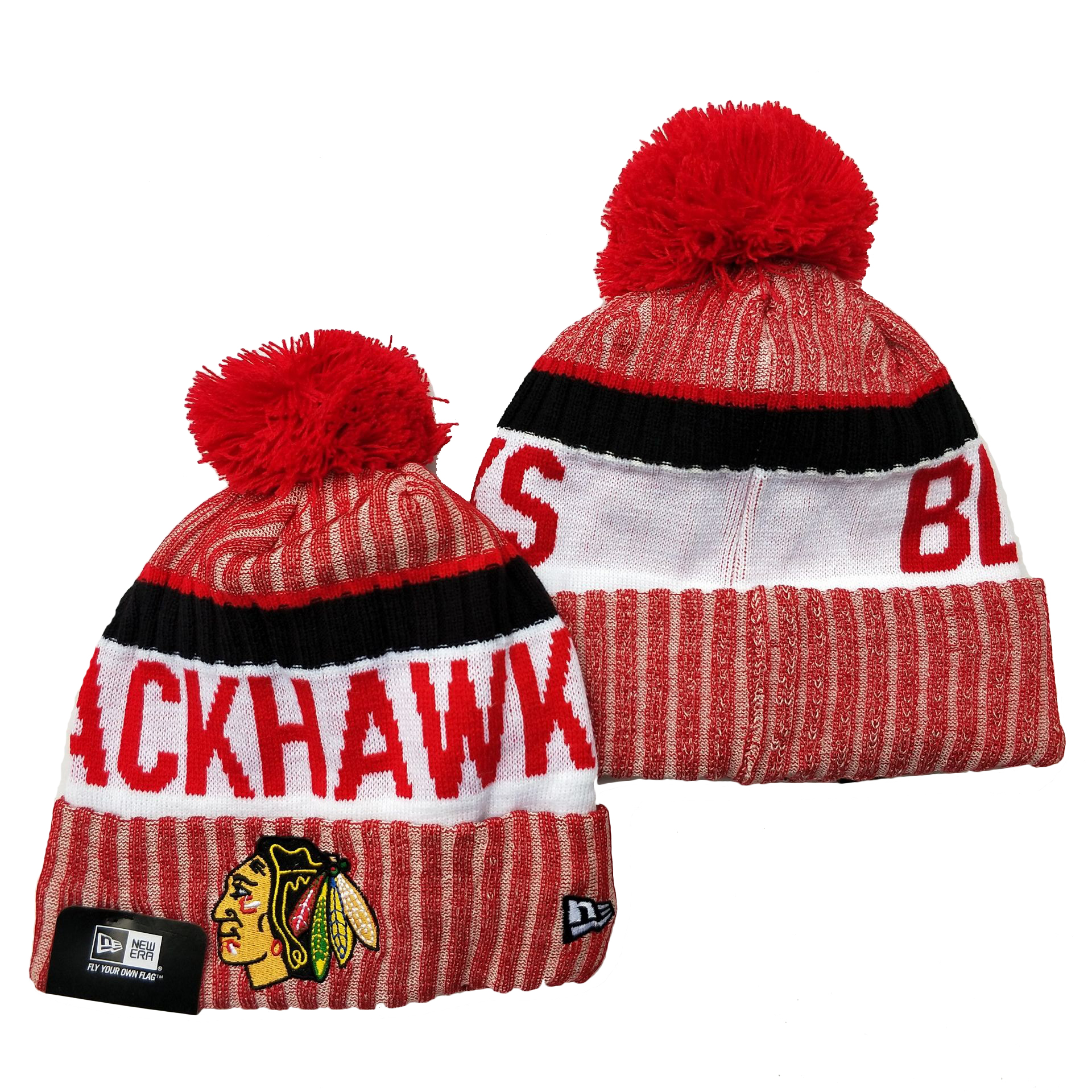 Blackhawks Team Logo Red Cuffed Knit Hat YD