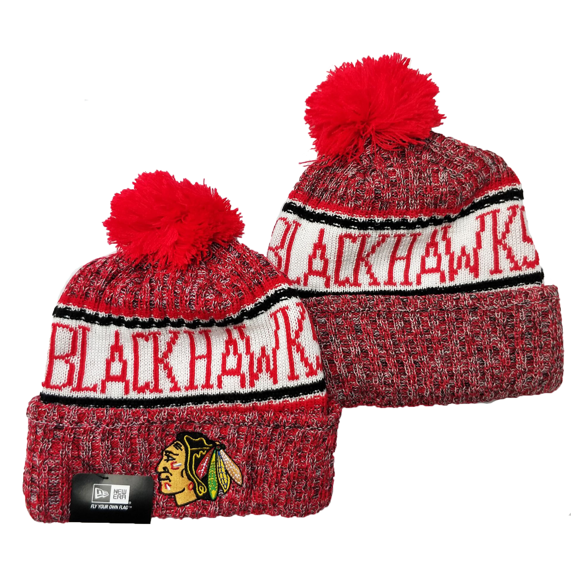 Blackhawks Team Logo Red Pom Cuffed Knit Hat YD