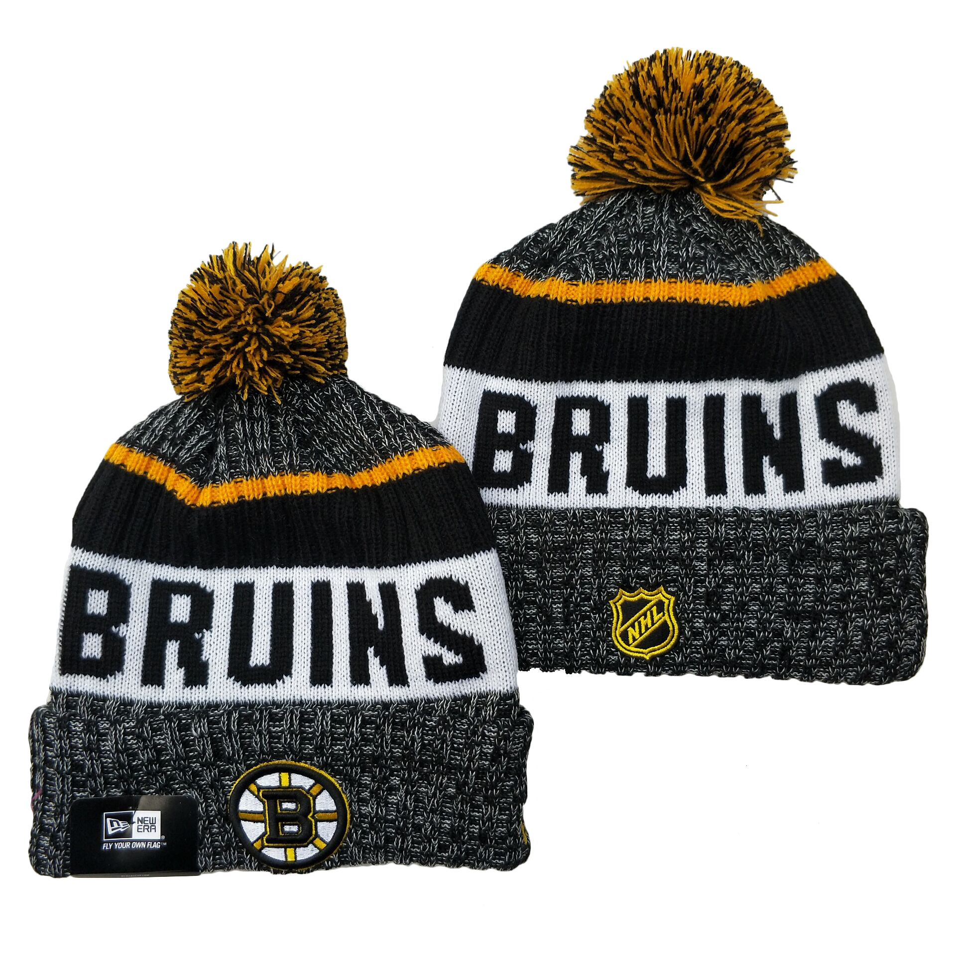 Bruins Team Logo Gray Pom Cuffed Knit Hat YD