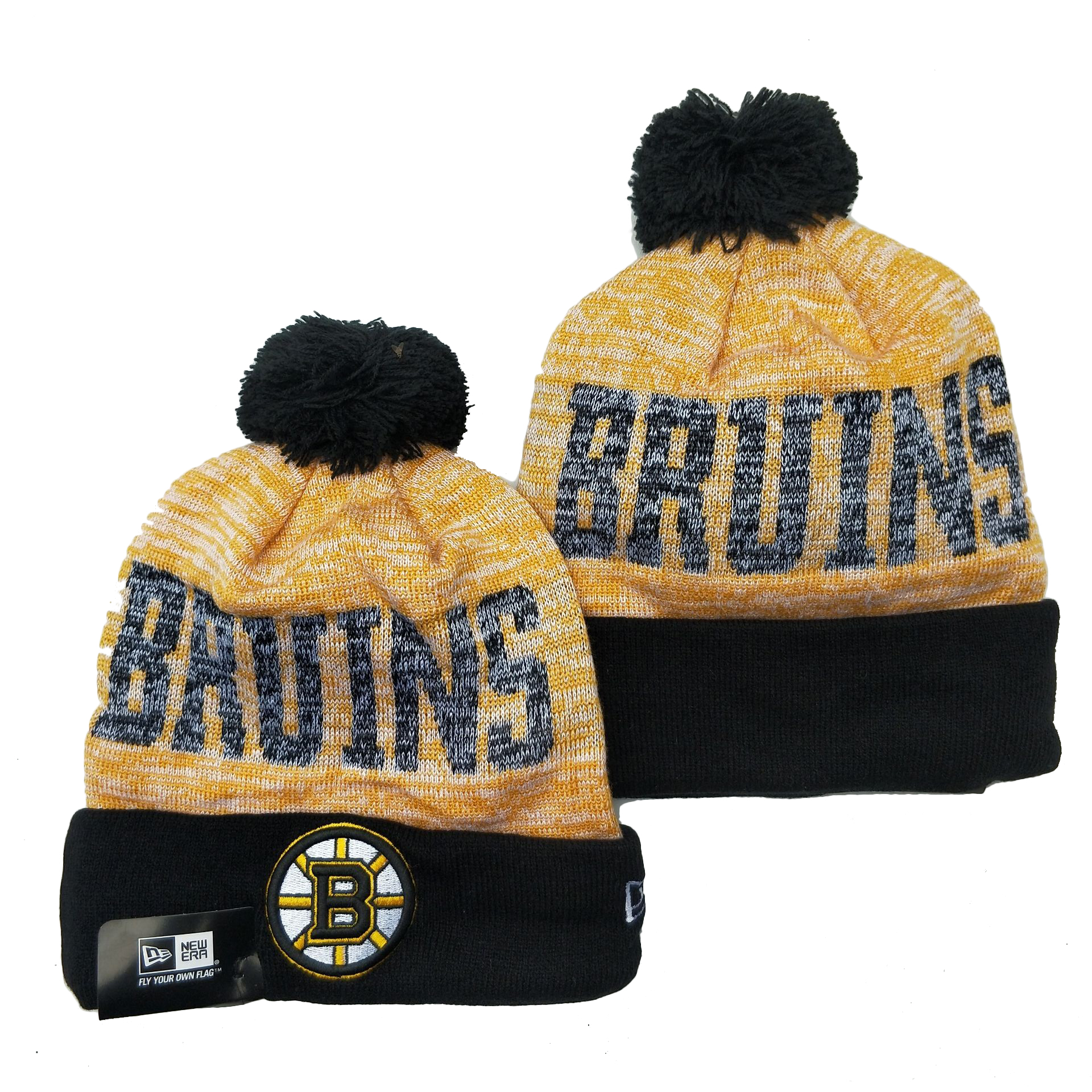 Bruins Team Logo Gray Yellow Black Pom Cuffed Knit Hat YD