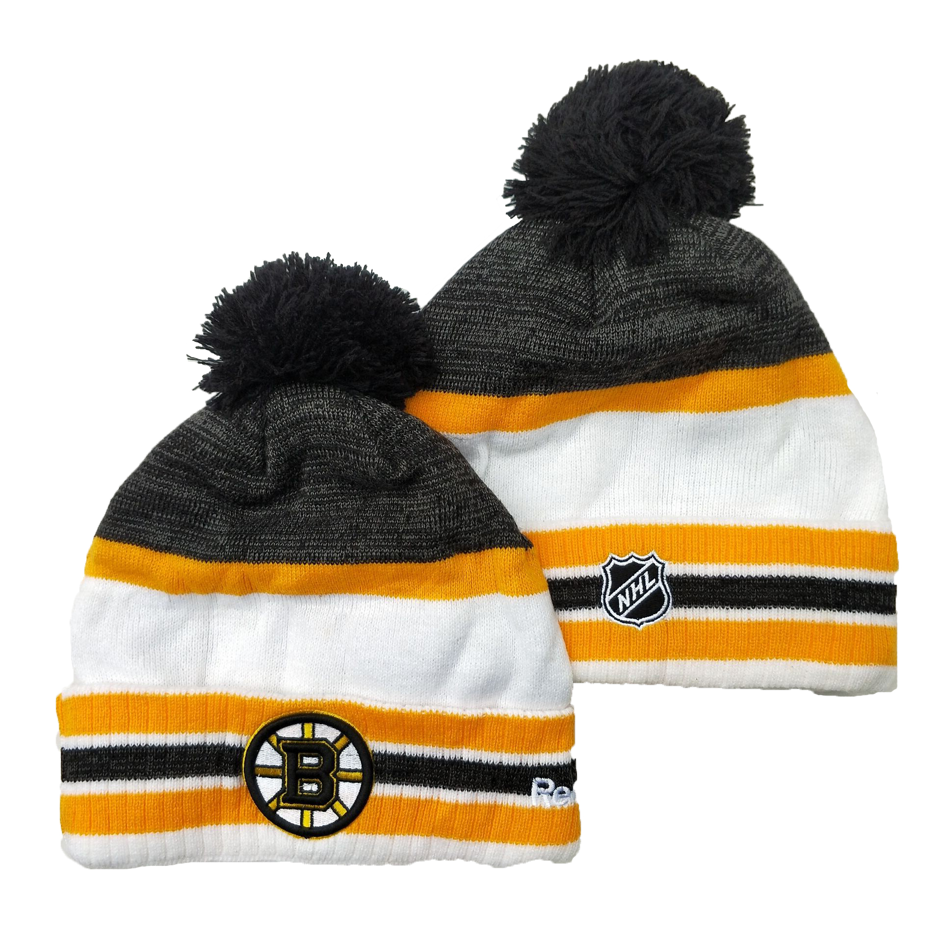 Bruins Team Logo Gray Yellow White Pom Cuffed Knit Hat YD