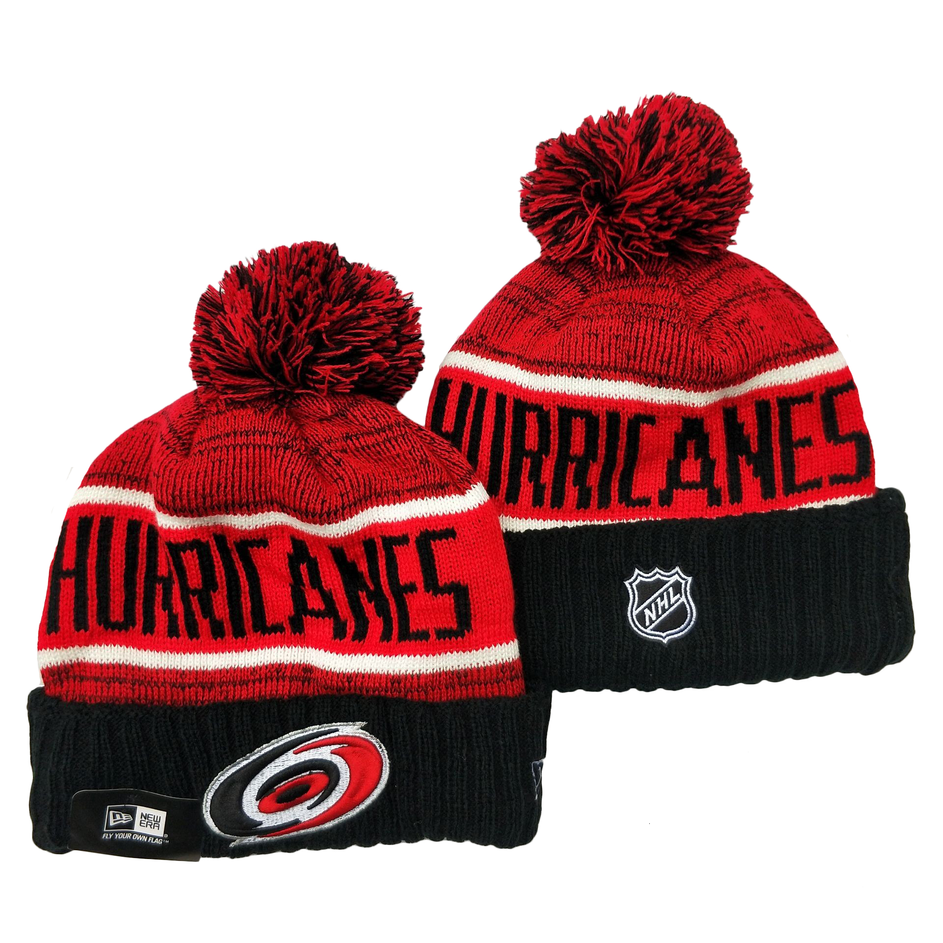 Hurricanes Team Logo Red Black Pom Cuffed Knit Hat YD