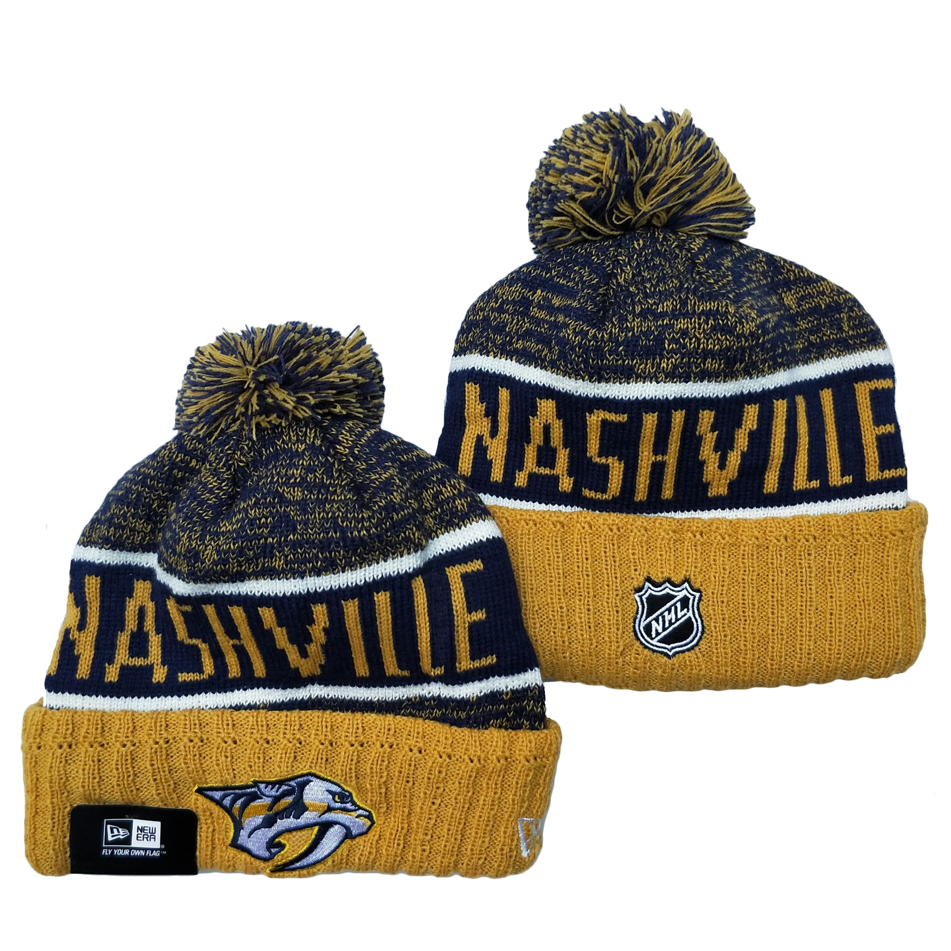 Predators Team Logo Navy Yellow Pom Cuffed Knit Hat YD