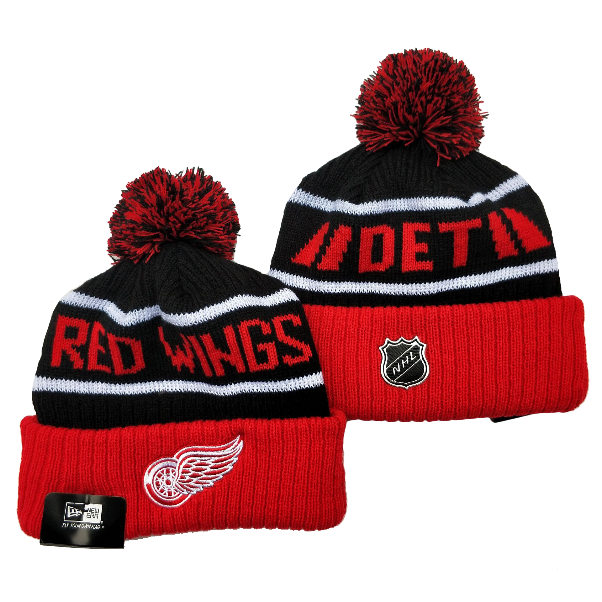 Red Wings Team Logo Red Black Pom Cuffed Knit Hat YD