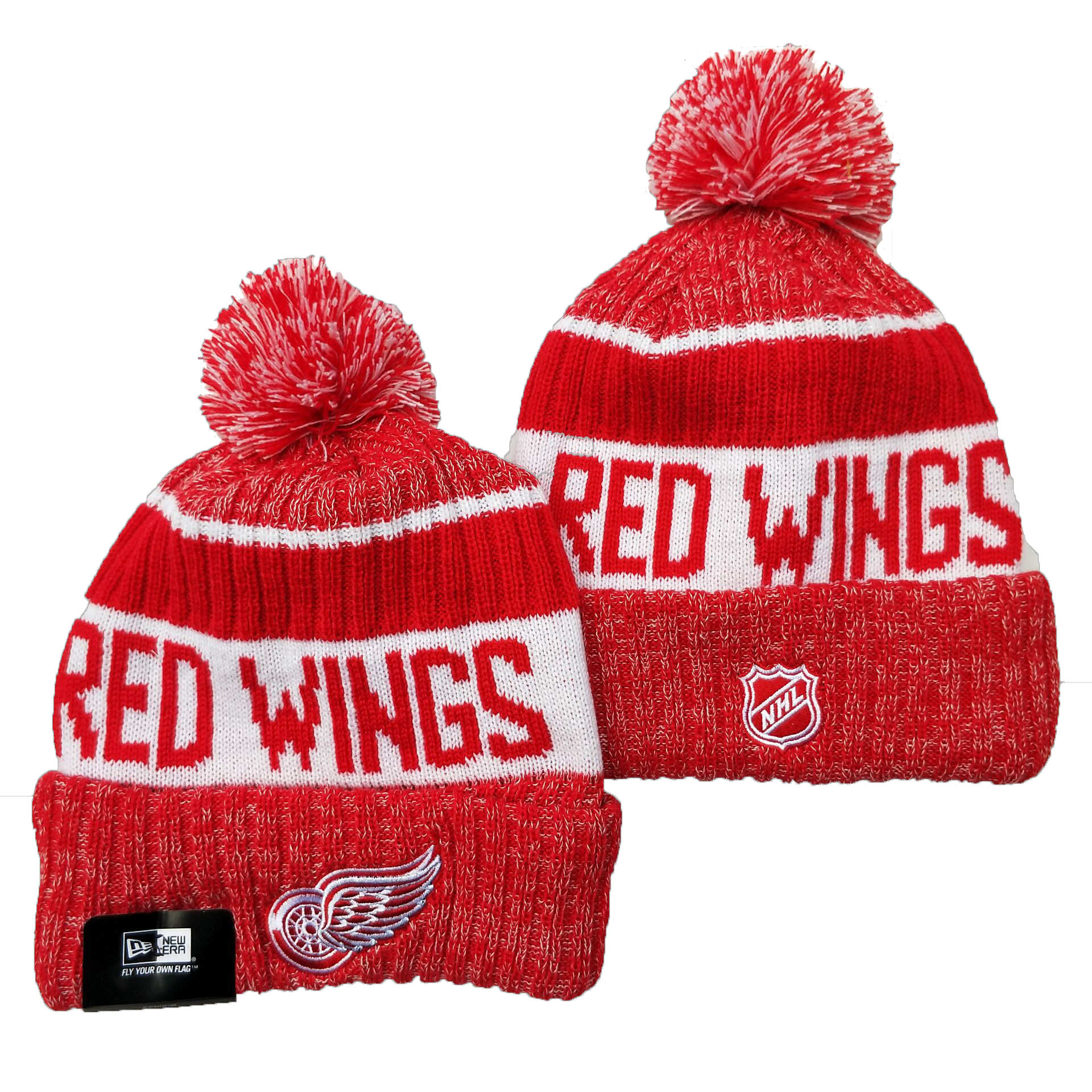 Red Wings Team Logo Red Pom Cuffed Knit Hat YD