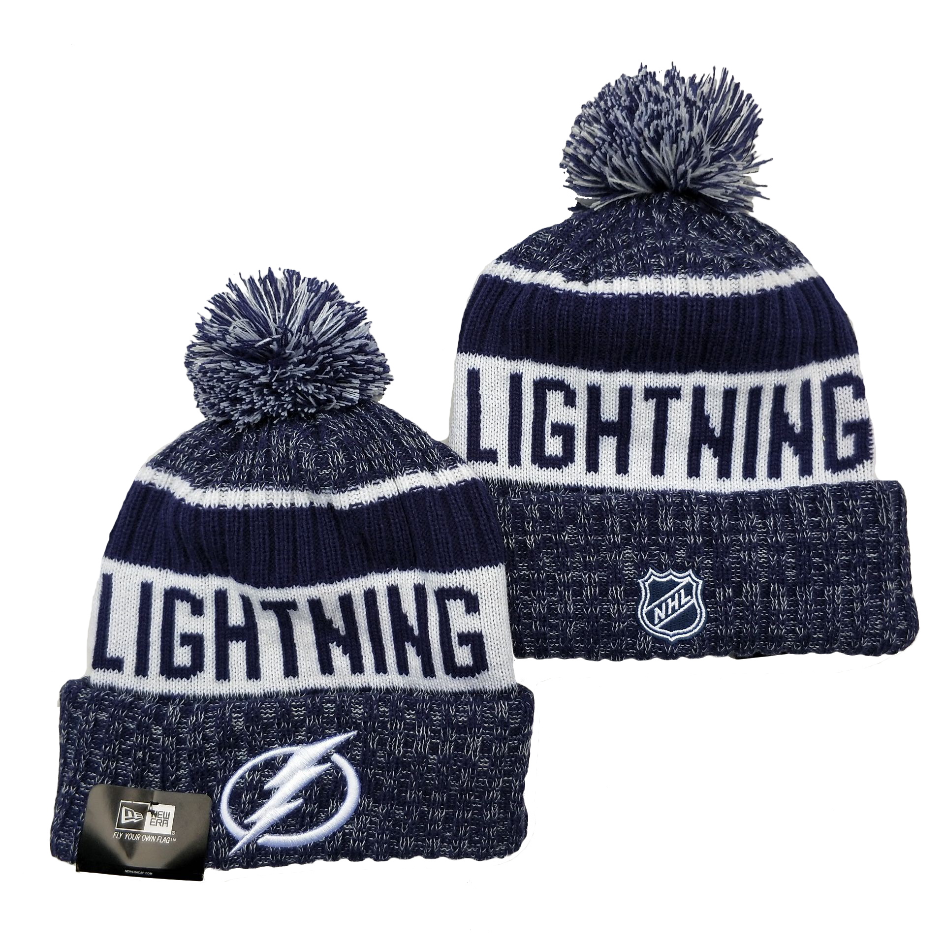 Tampa Bay Lightning Team Logo Navy Pom Cuffed Knit Hat YD