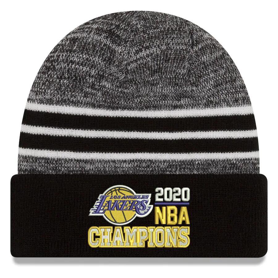 Lakers Team Logo Black 2020 NBA Finals Champions Pom Cuffed Knit Hat SG