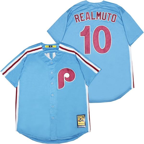 Phillies 10 J.T. Realmuto Light Blue Cooperstown Collection Jersey
