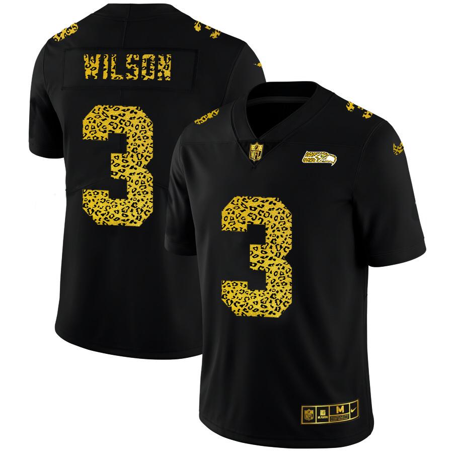 Nike Seahawks 3 Russell Wilson Black Leopard Vapor Untouchable Limited Jersey