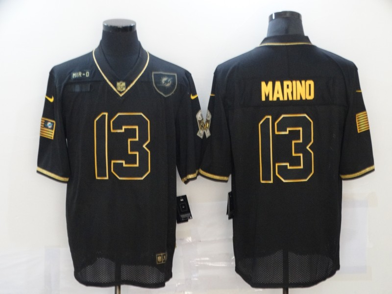 Nike Dolphins 13 Dan Marino Black Gold 2020 Salute To Service Limited Jersey