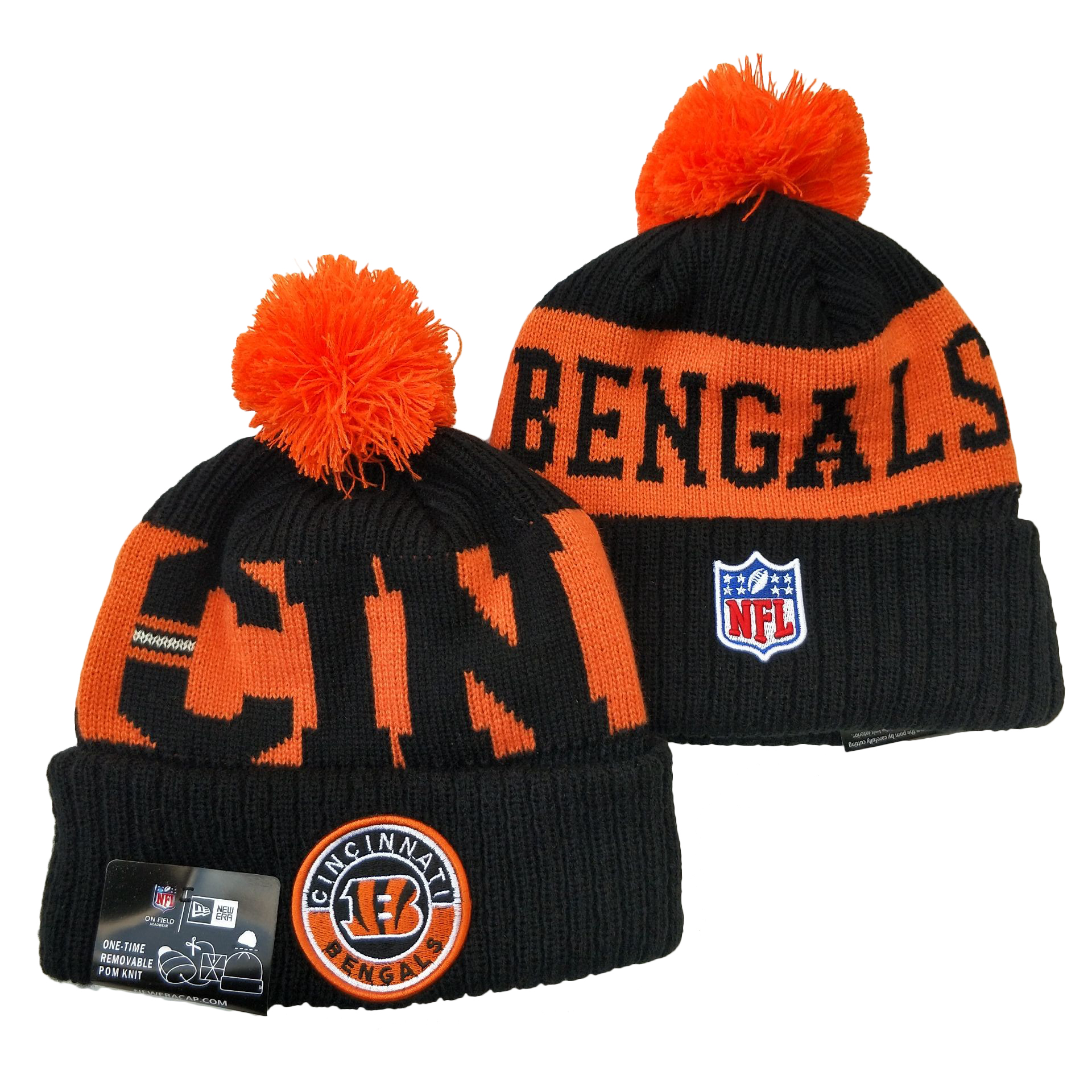 Bengals Team Logo Black Orange 2020 NFL Sideline Pom Cuffed Knit Hat YD