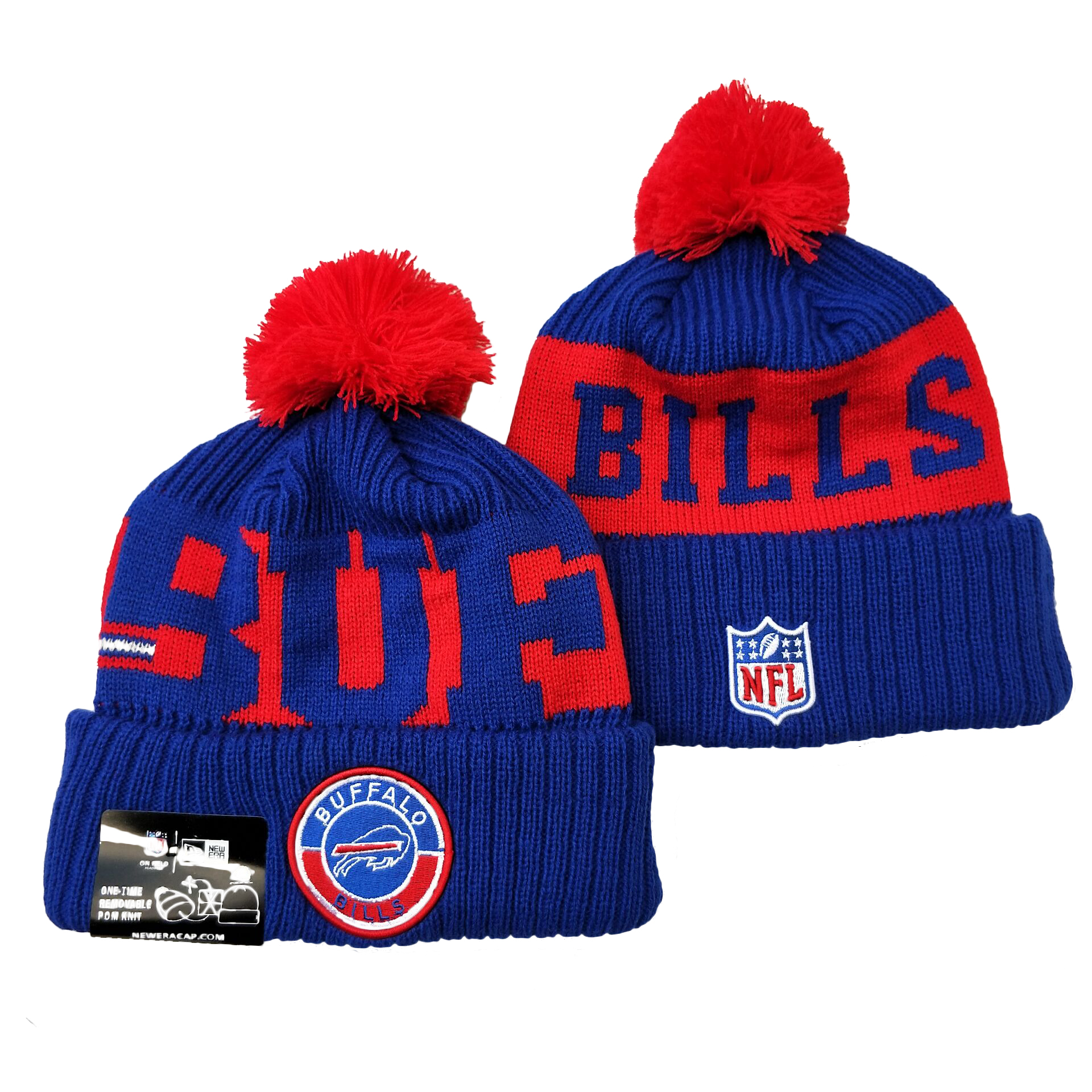 Bills Team Logo Royal Red 2020 NFL Sideline Pom Cuffed Knit Hat YD