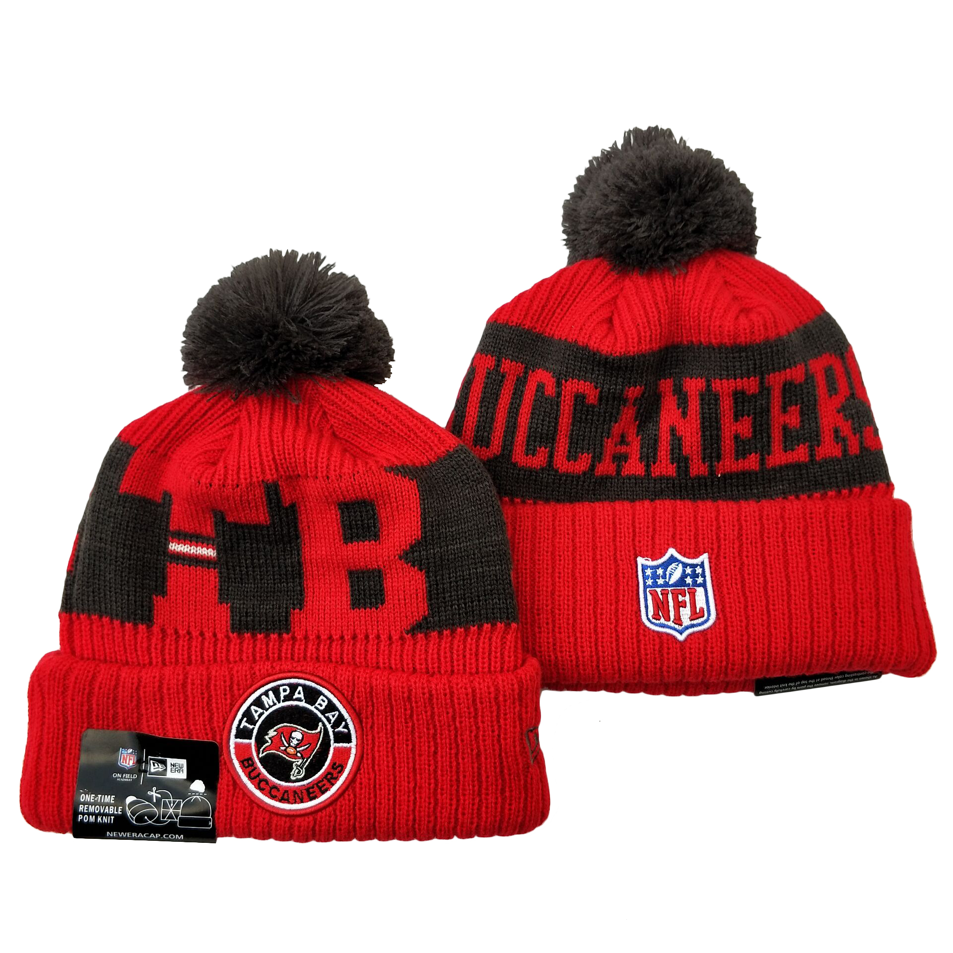 Buccaneers Team Logo Red 2020 NFL Sideline Pom Cuffed Knit Hat YD