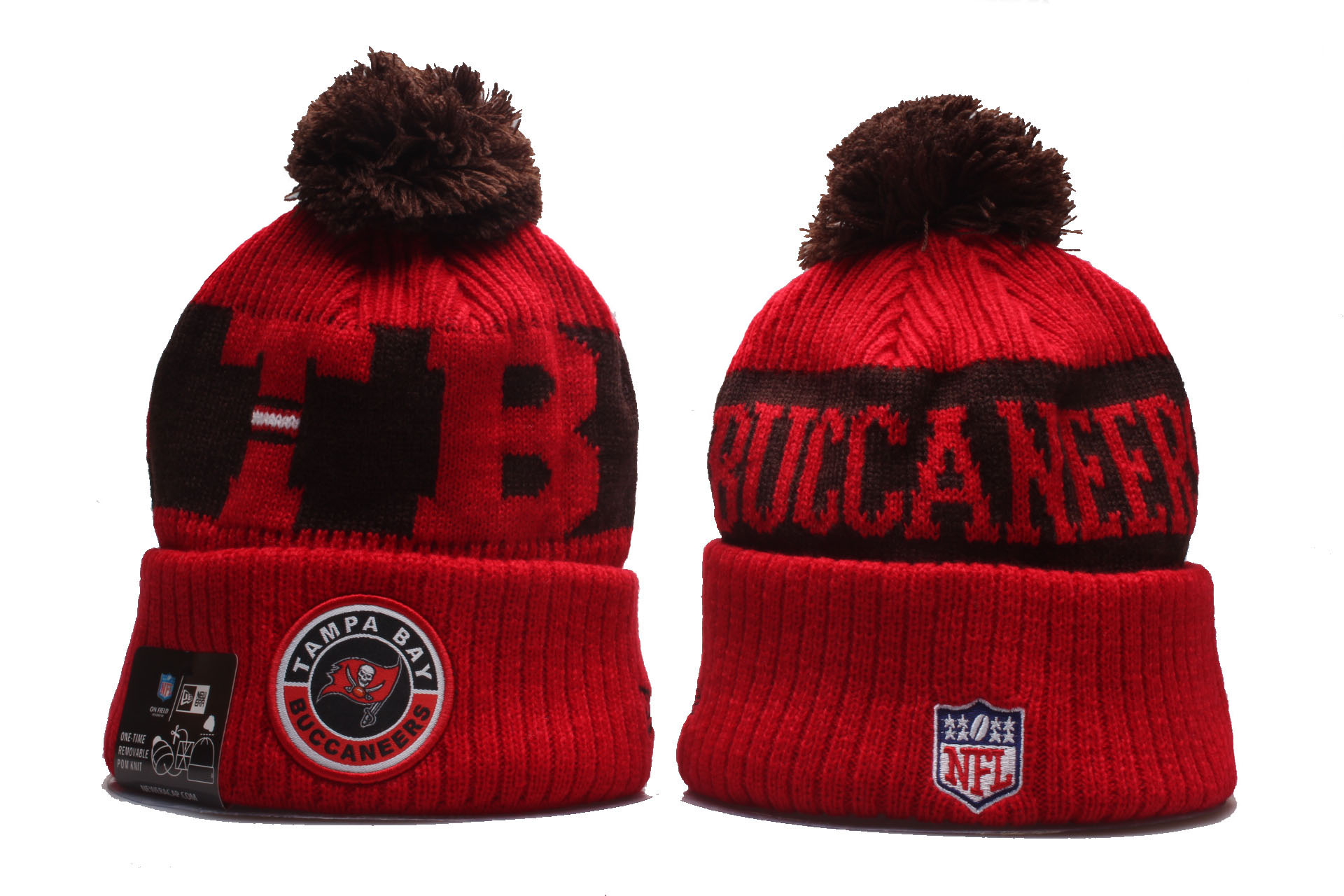 Buccaneers Team Logo Red 2020 NFL Sideline Pom Cuffed Knit Hat YP
