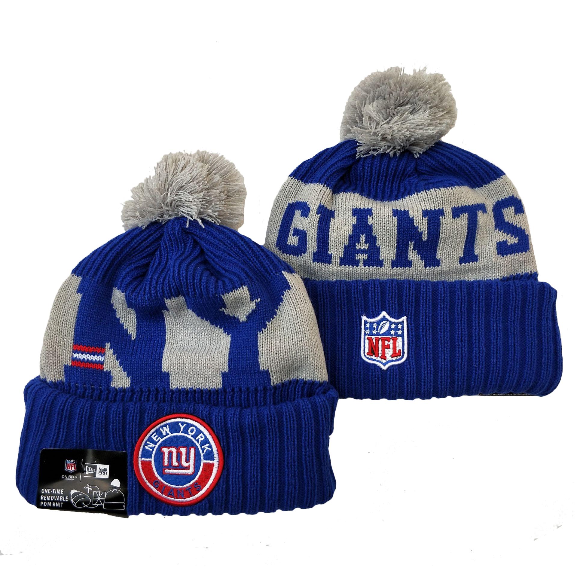 New York Giants Team Logo Royal 2020 NFL Sideline Pom Cuffed Knit Hat YD