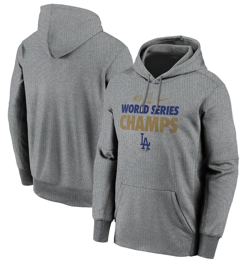 Men's Los Angeles Dodgers Nike Gray 2020 World Series Champions Gold Fleece Pullover Hoodie