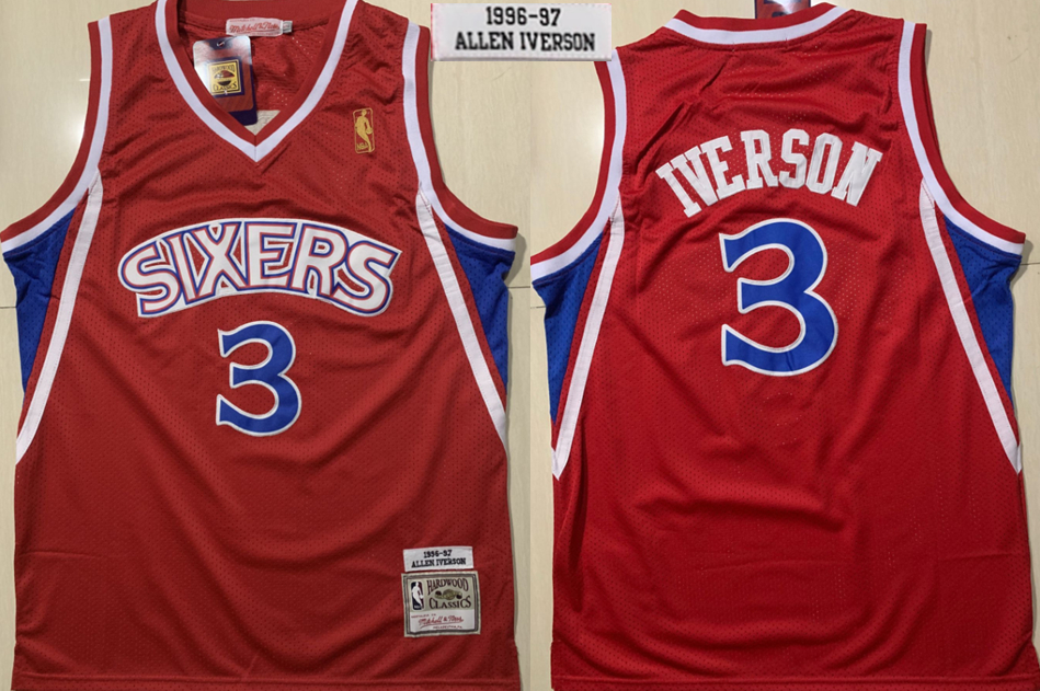 76ers 3 Allen Iverson Red 1996-1997 Hardwood Classics Jersey