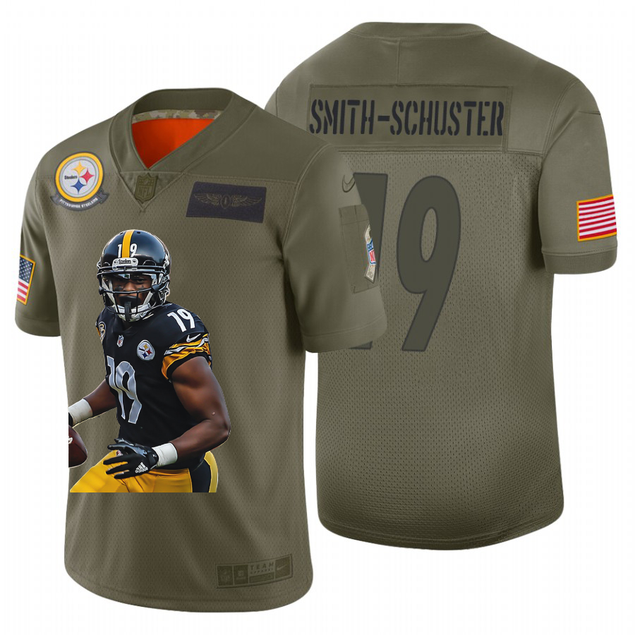 Nike Steelers 19 JuJu Smith Schuster Olive Player Name Logo Limited Jersey