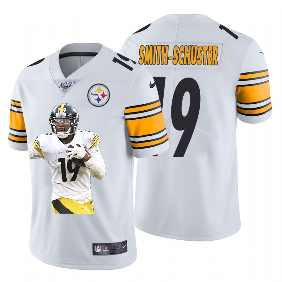 Nike Steelers 19 JuJu Smith Schuster White Player Name Logo 100th Season Limited Jersey