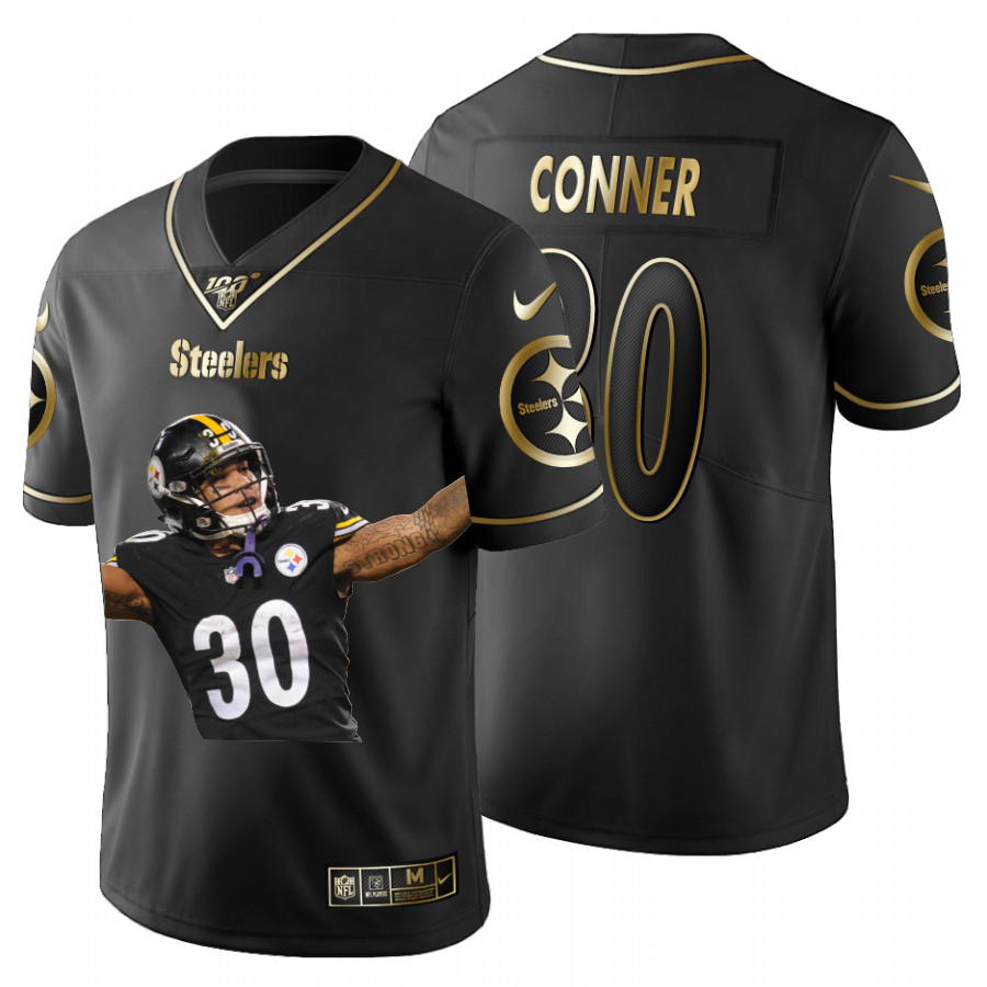 Nike Steelers 30 James Conner Black Gold Player Name Logo 100th Season Limited Jersey