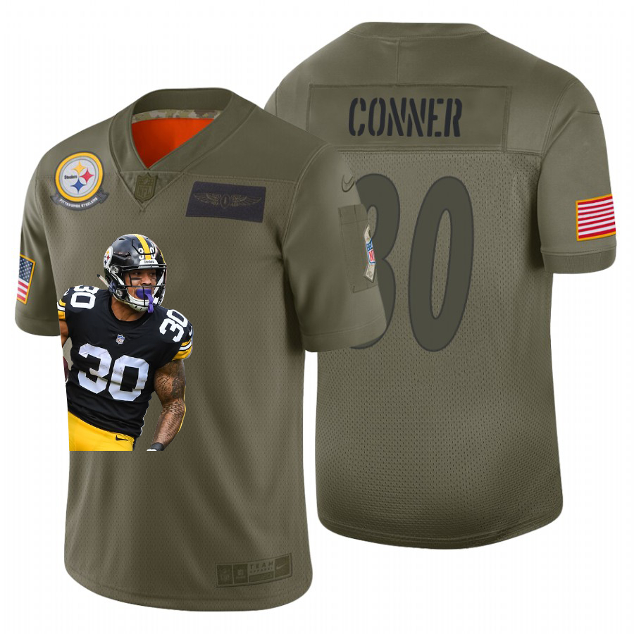 Nike Steelers 30 James Conner Olive Player Name Logo Limited Jersey