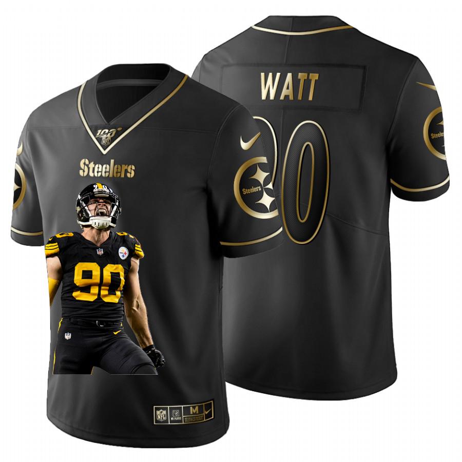 Nike Steelers 90 T.J. Watt Black Gold Player Name Logo 100th Season Limited Jersey