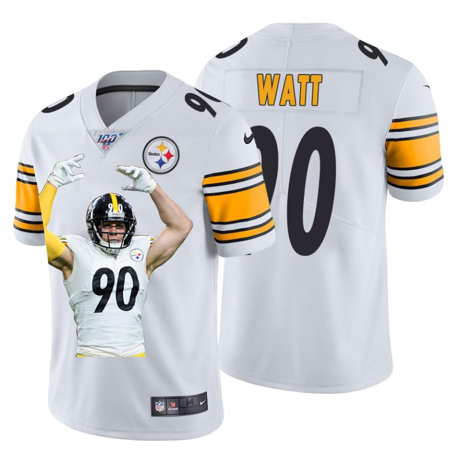 Nike Steelers 90 T.J. Watt White Player Name Logo 100th Season Limited Jersey