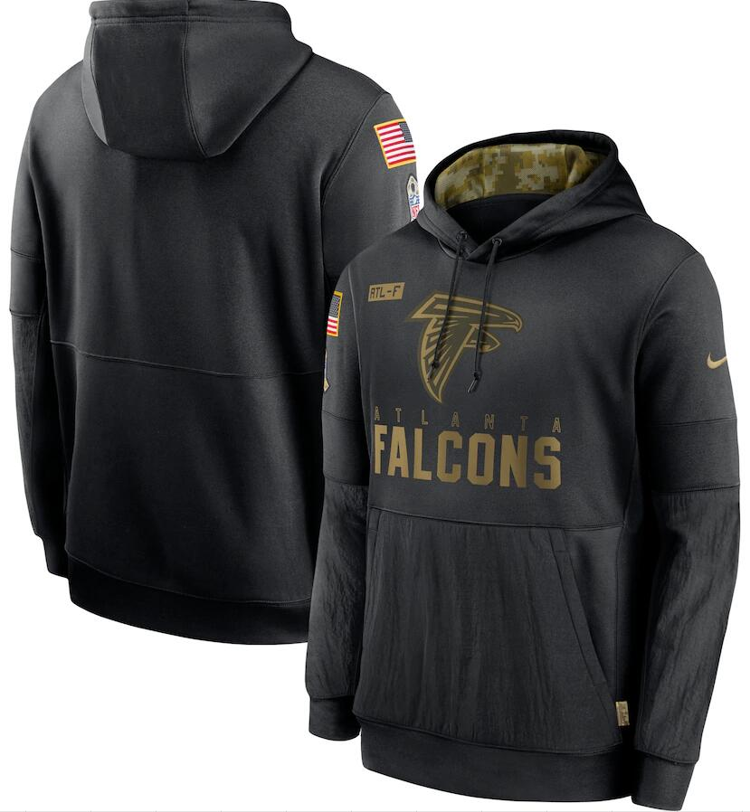 Men's Atlanta Falcons Nike Black 2020 Salute to Service Sideline Performance Pullover Hoodie