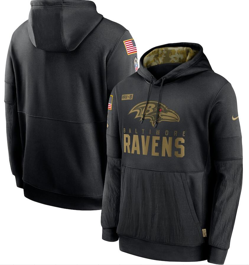Men's Baltimore Ravens Nike Black 2020 Salute to Service Sideline Performance Pullover Hoodie