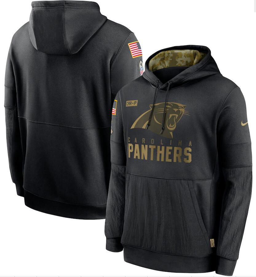 Men's Carolina Panthers Nike Black 2020 Salute to Service Sideline Performance Pullover Hoodie