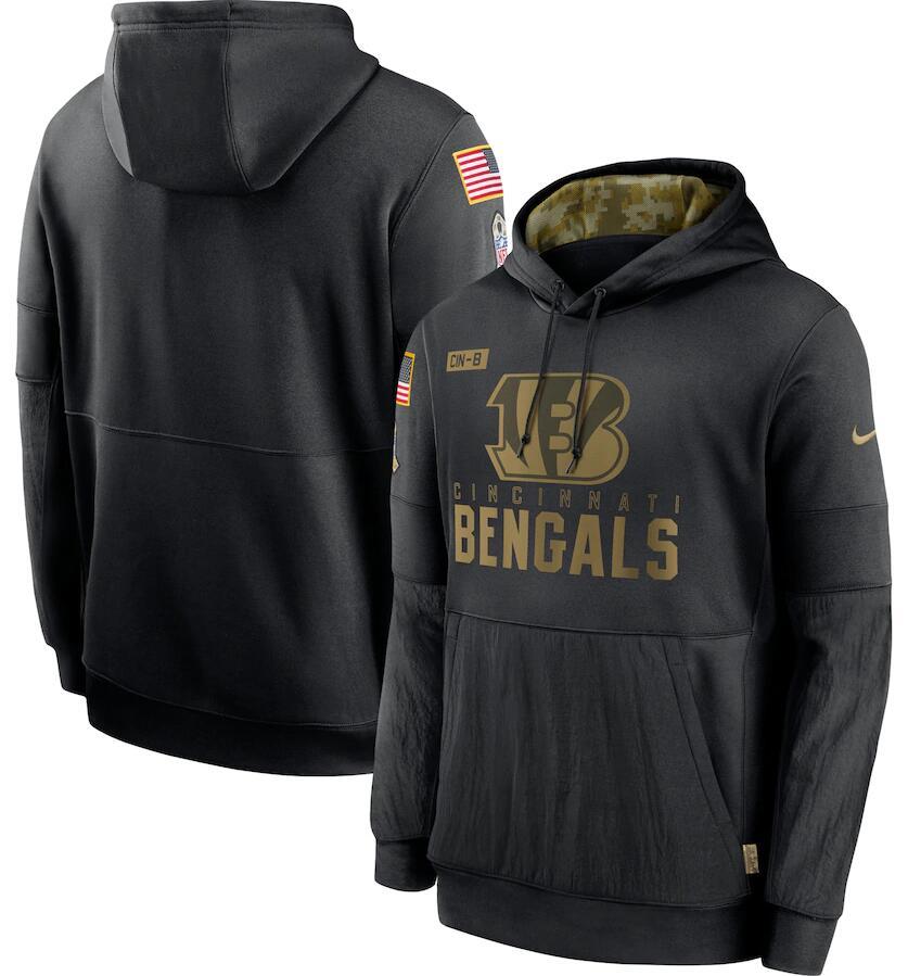 Men's Cincinnati Bengals Nike Black 2020 Salute to Service Sideline Performance Pullover Hoodie