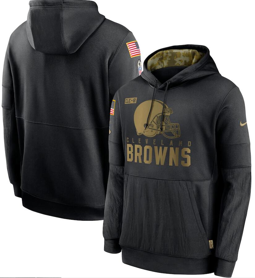 Men's Cleveland Browns Nike Black 2020 Salute to Service Sideline Performance Pullover Hoodie