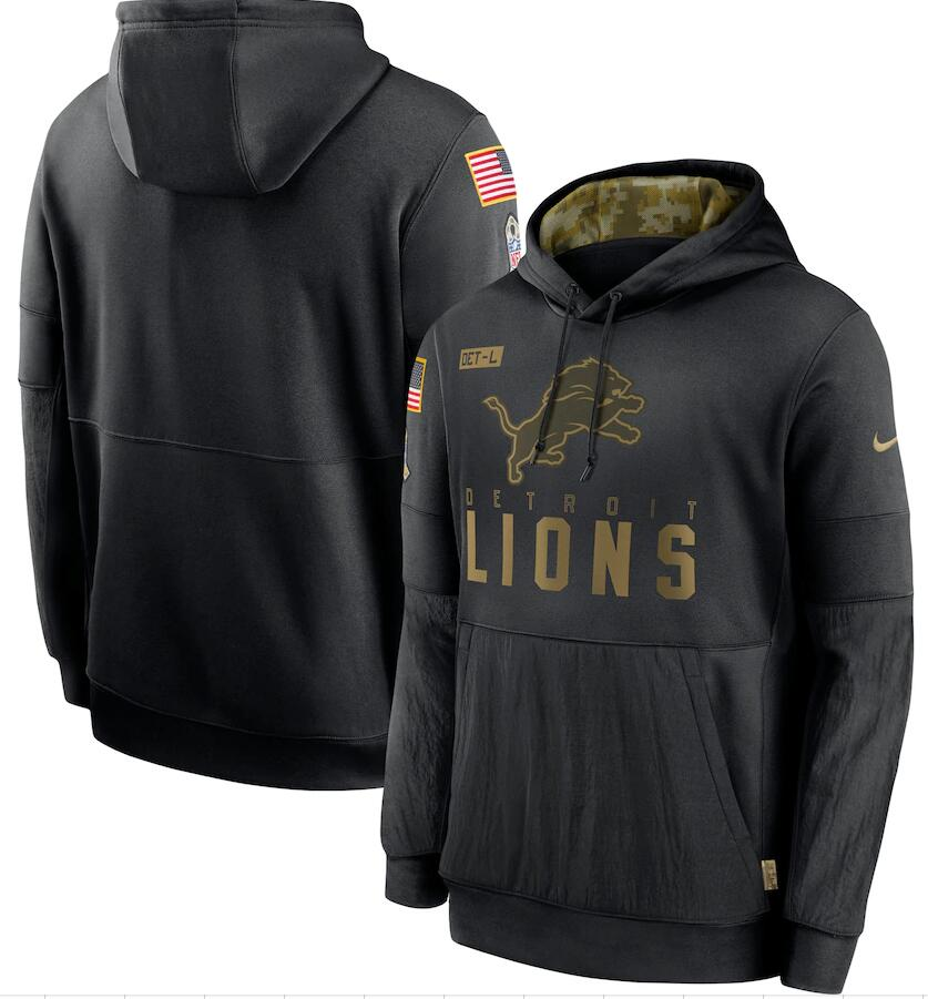 Men's Detroit Lions Nike Black 2020 Salute to Service Sideline Performance Pullover Hoodie