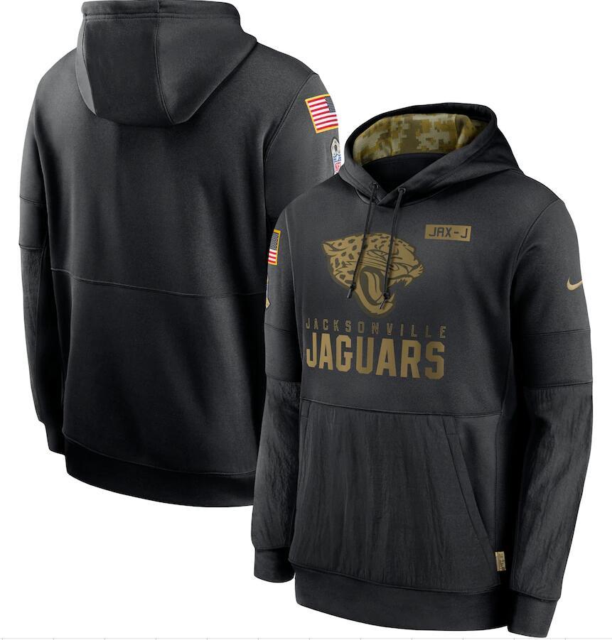 Men's Jacksonville Jaguars Nike Black 2020 Salute to Service Sideline Performance Pullover Hoodie