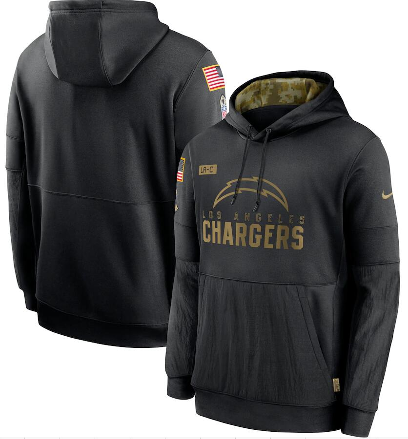 Men's Los Angeles Chargers Nike Black 2020 Salute to Service Sideline Performance Pullover Hoodie