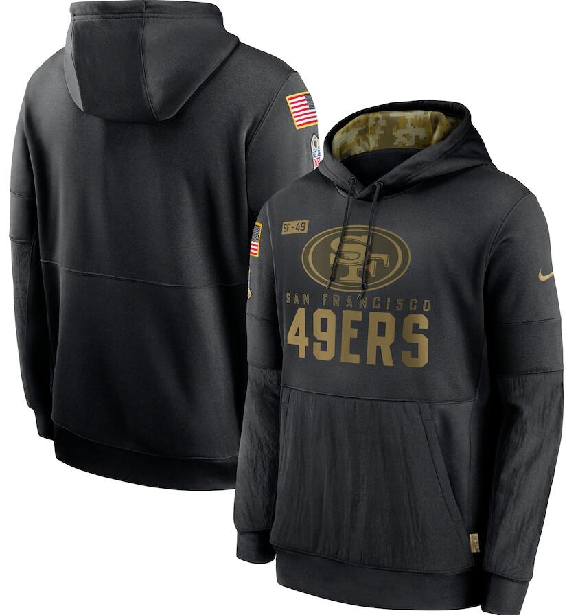 Men's San Francisco 49ers Nike Black 2020 Salute to Service Sideline Performance Pullover Hoodie