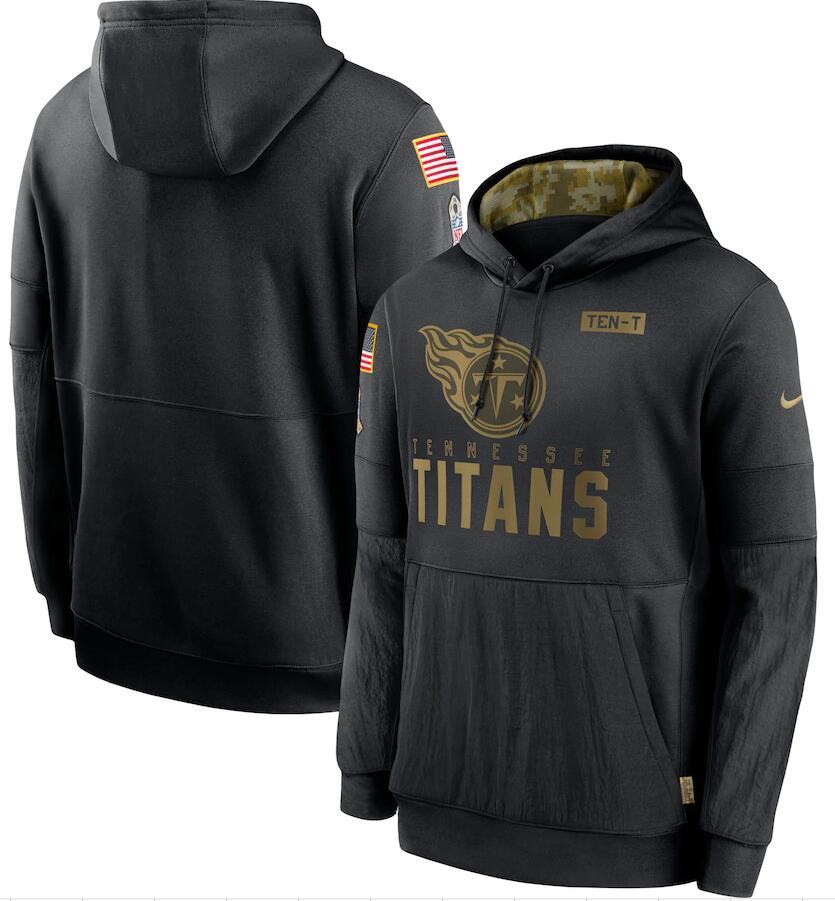 Men's Tennessee Titans Nike Black 2020 Salute to Service Sideline Performance Pullover Hoodie