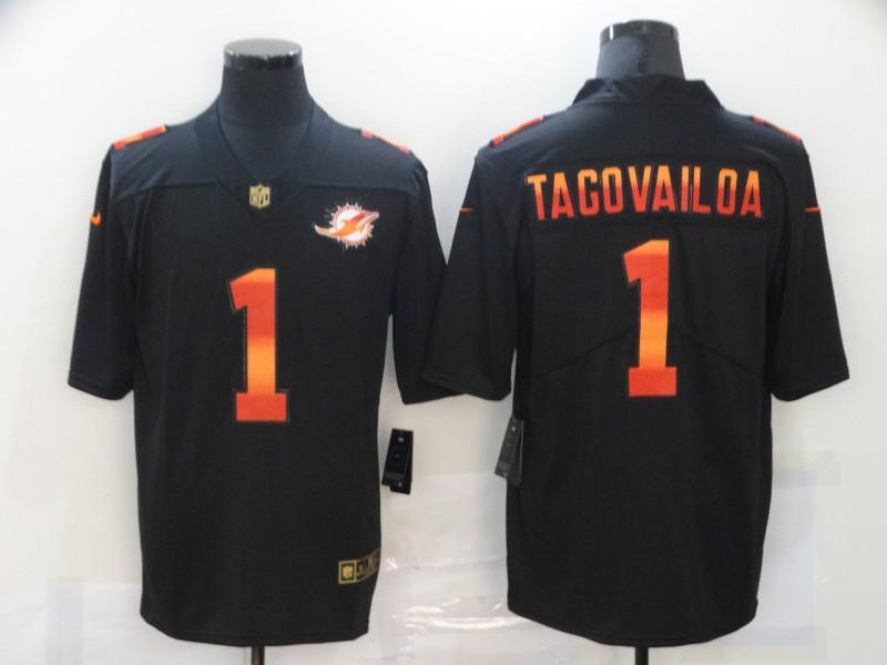 Nike Dolphins 1 Tua Tagovailoa Black Colorful Fashion Limited Jersey