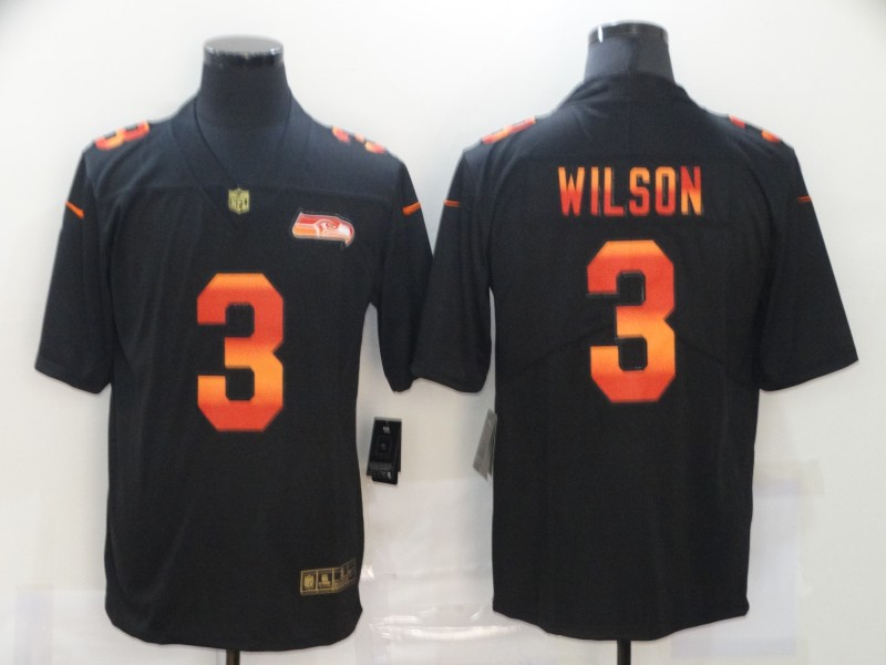 Nike Seahawks 3 Russell Wilson Black Colorful Fashion Limited Jersey