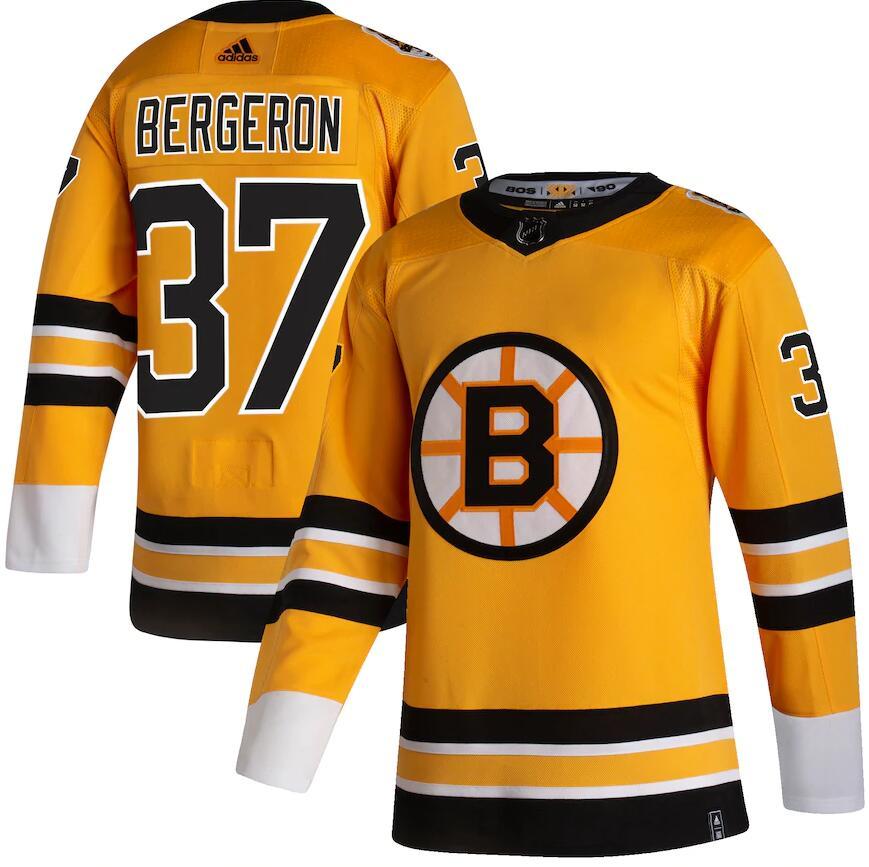 Bruins 37 Patrice Bergeron Yellow 2020-21 Reverse Retro Adidas Jersey