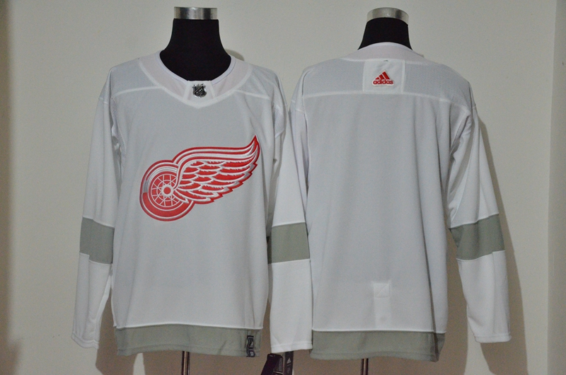 Red Wings Blank White 2020-21 Reverse Retro Adidas Jersey