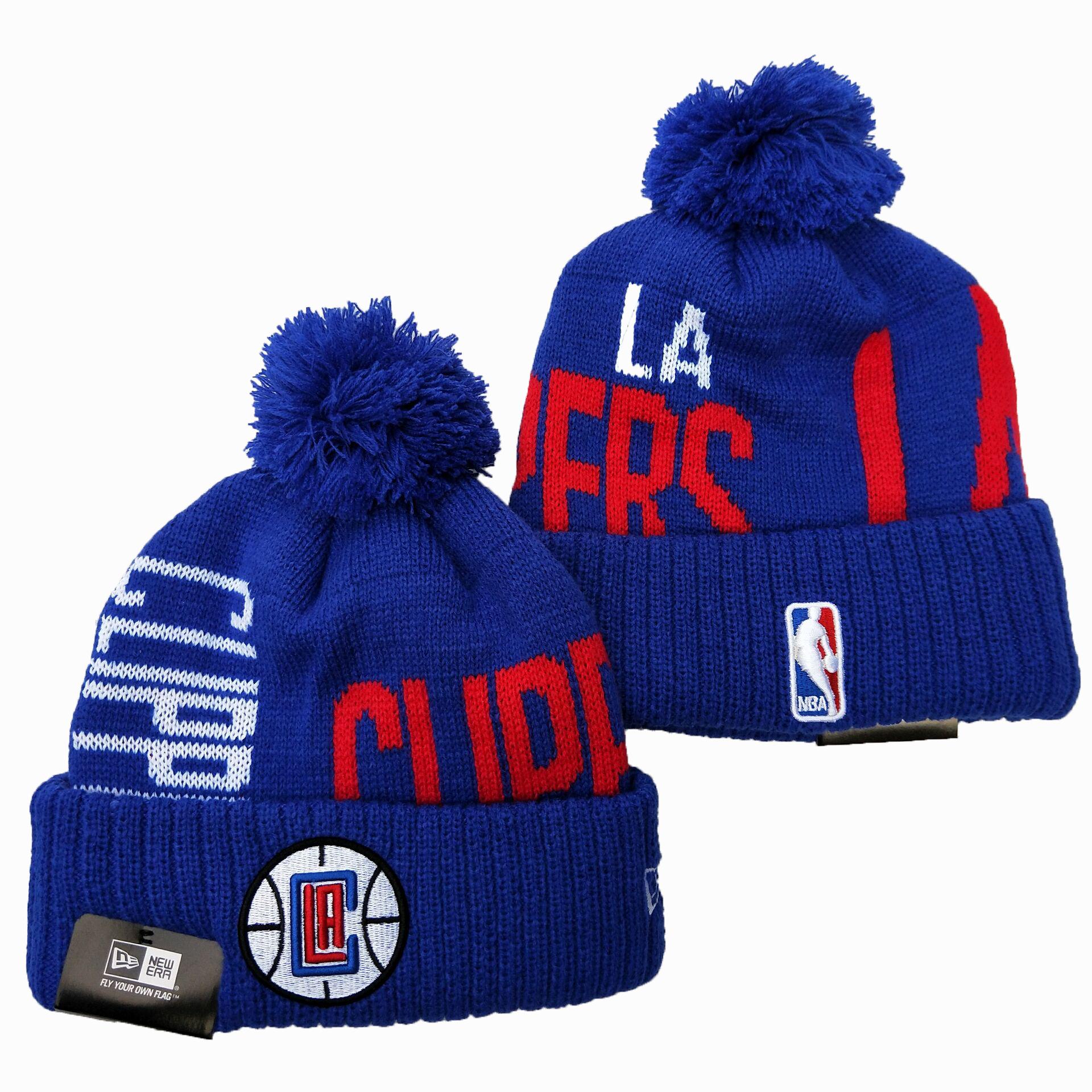 Clippers Team Logo Blue Pom Knit Hat YD