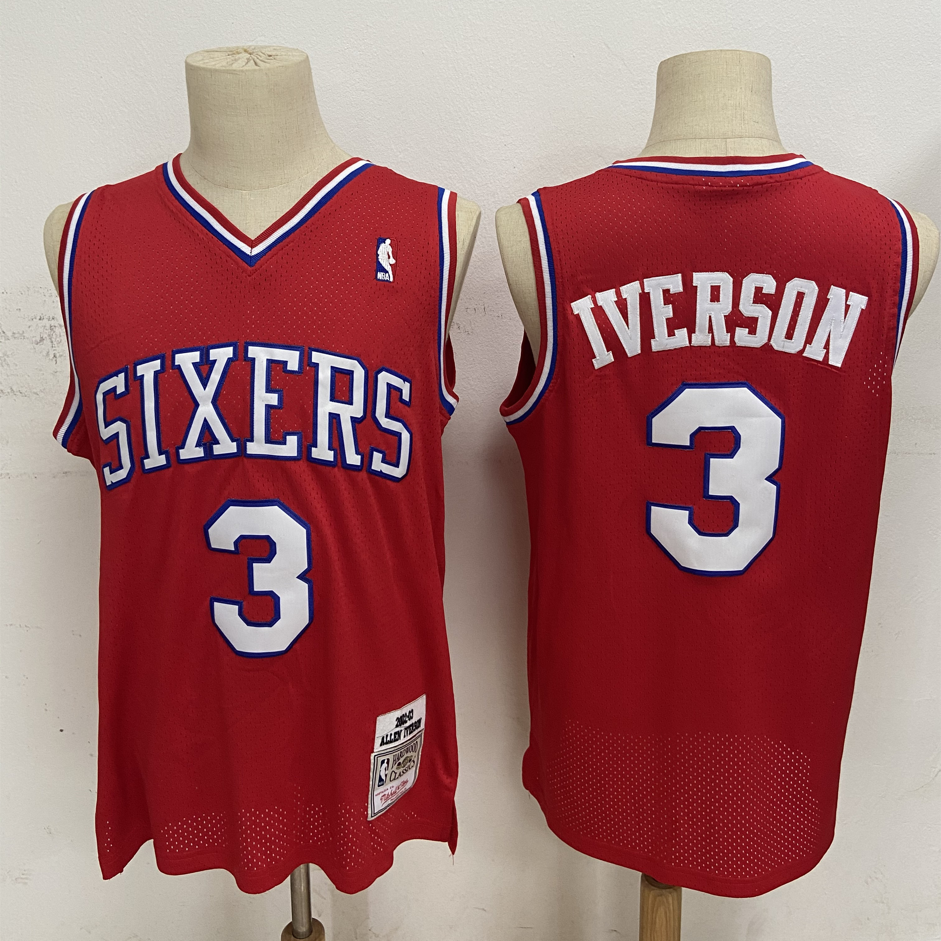 76ers 3 Allen Iverson Red 2002-03 Hardwood Classics Jersey