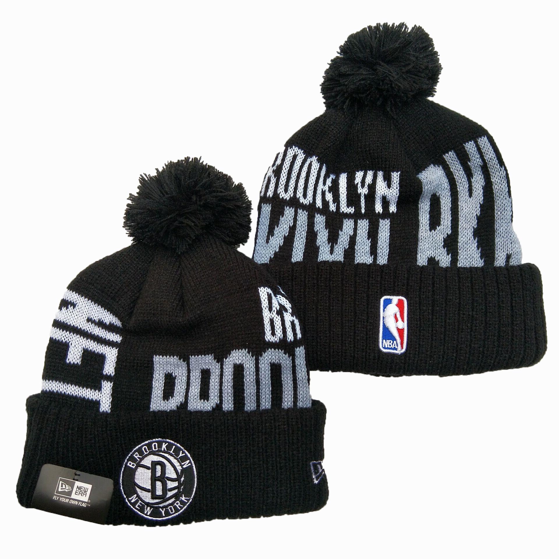 Nets Team Logo Black Pom Knit Hat YD