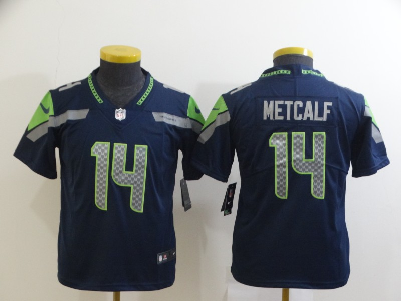 Nike Seahawks 14 DK Metcalf Navy Youth Vapor Untouchable Limited Jersey